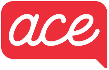 ACE - Accessible Communications for Everyone - logo with white cursive ace letters on a red thought bubble background