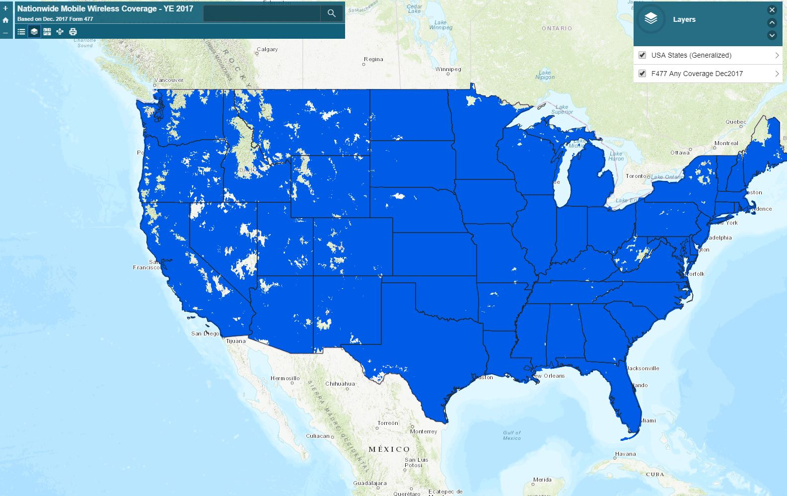 Nationwide Mobile Coverage YE2017