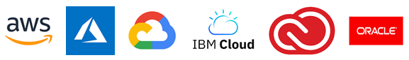 Amazon Web Services, Microsoft Azure, Google Cloud, IBM Cloud, Adobe Creative Cloud, Oracle