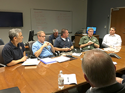Zenji Nakazawa, Chris Anderson, and others at North Carolina's State Emergency Operations Center.