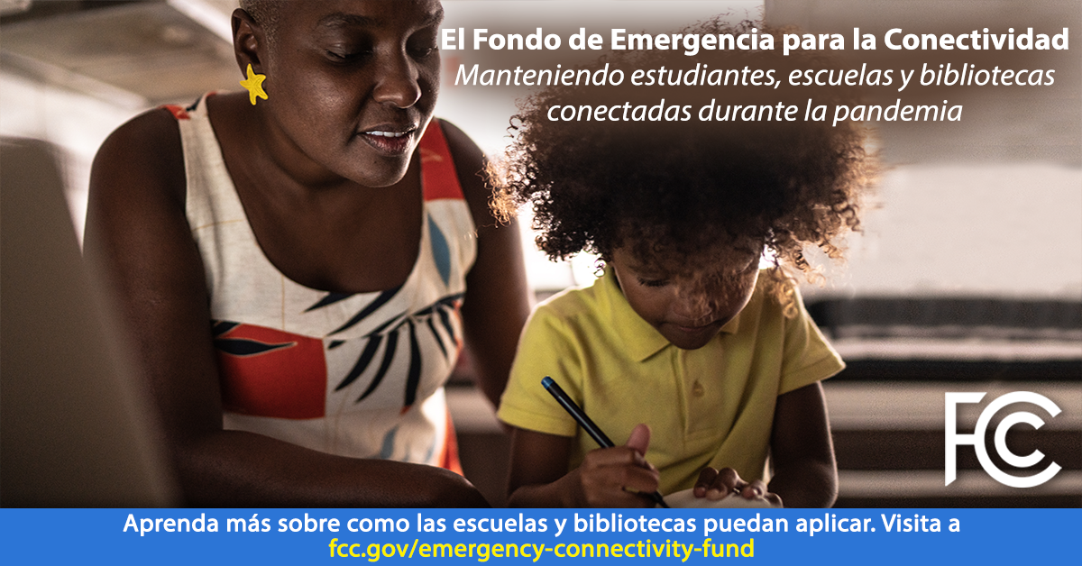 Image with Spanish text: Emergency Connectivity Fund - woman helping child writing in a paper notebook
