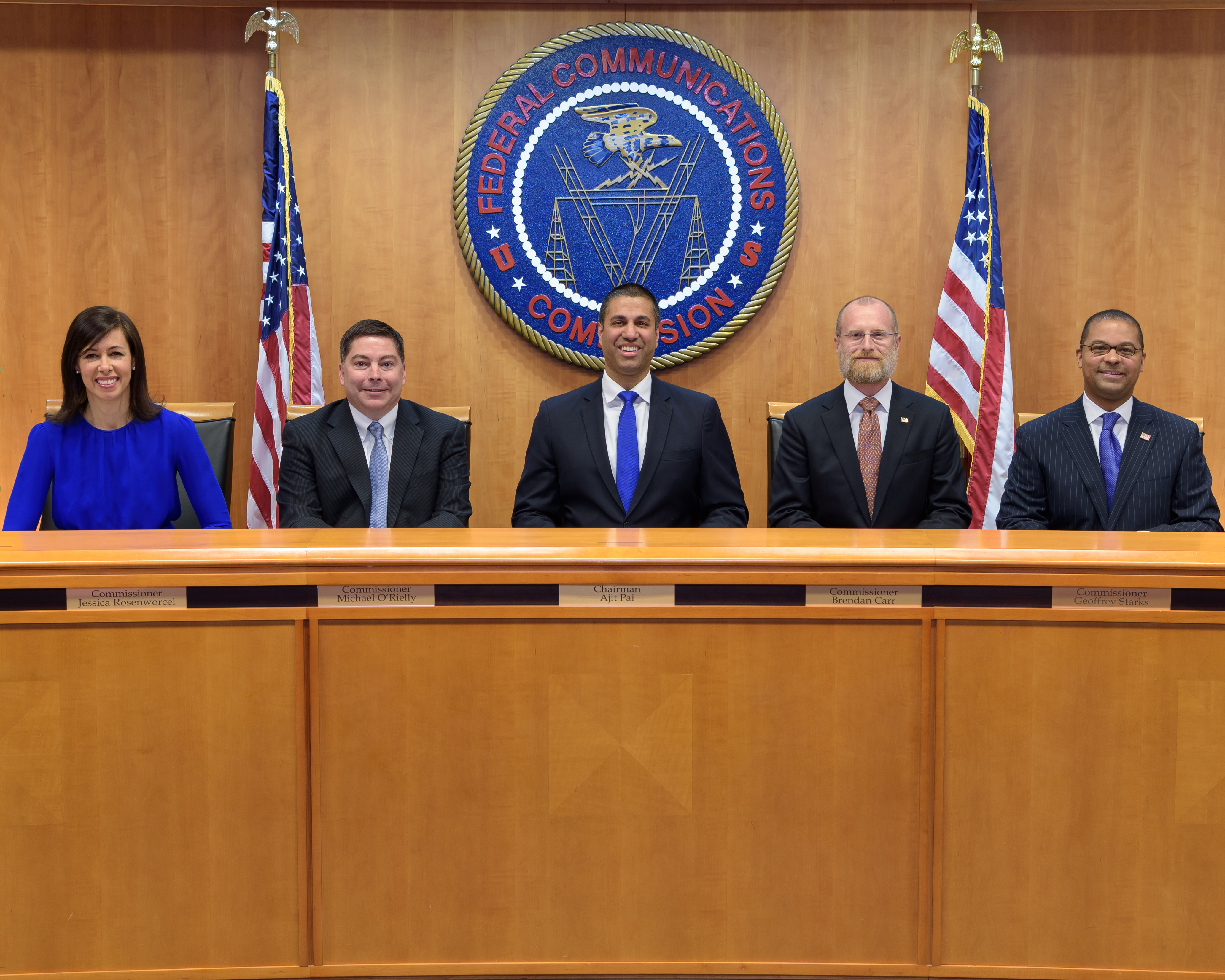 FCC Leadership Left to Right Commissioner Jessica Rosenworcel, Commissioner Michael O'Rielly, Chairman Ajit Pai, Commissioner Brendan Carr and Commissioner Geoffrey Starks.