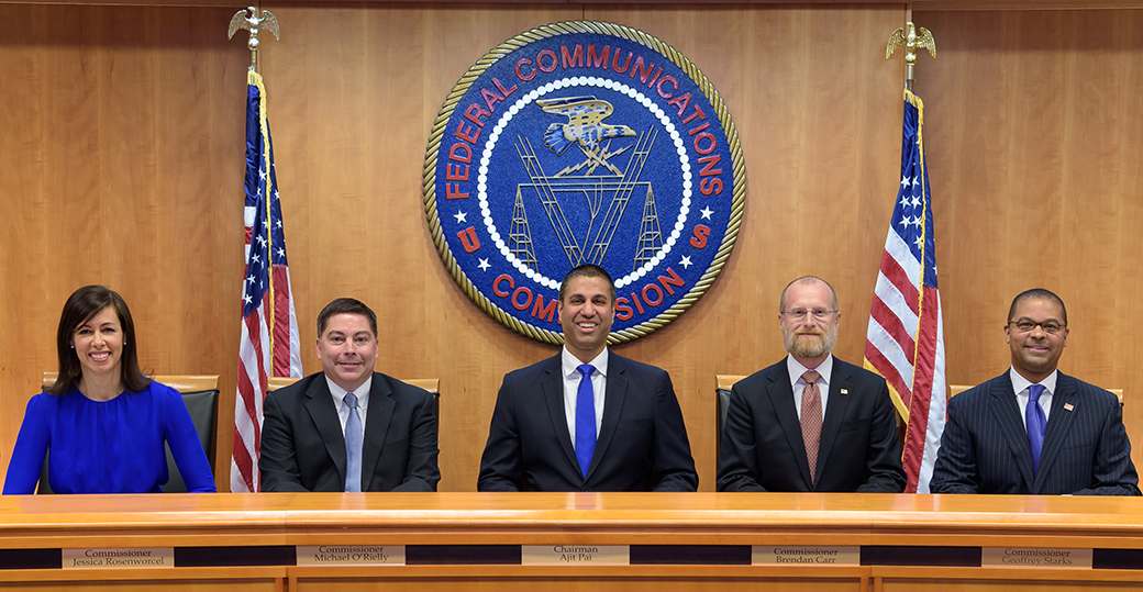 Commissioners Group Photo, January 30, 2019, L to R:  Commissioner Jessica Rosenworcel, Commissioner Michael O'Rielly, Chairman Ajit Pai, Commissioner Brendan Carr and Commissioner Geoffrey Starks. Click for print version.