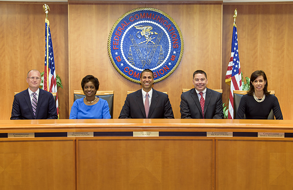 Commissioners Group Photo, September 26, 2017: L to R: Commissioner Brendan Carr, Commissioner Mignon Clyburn, Chairman Ajit Pai, Commissioner Michael O'Rielly and Commissioner Jessica Rosenworcel. Click for print version.