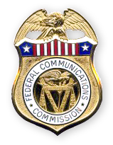 Office of Inspector General metal badge featuring an eagle, stars and stripes and the Federal Communications Commission seal.