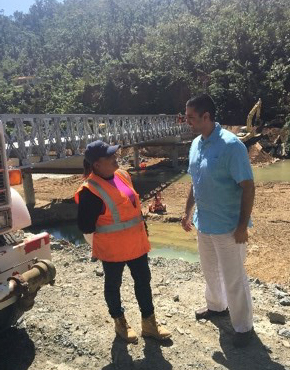 Rebuilding the bridge in rural part of Utuado.