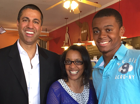 Chairman Pai with Gwen and Dylan Harris, click for a larger version...