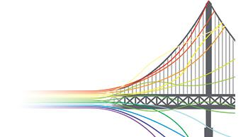 Suspension bridge transforming into rainbow colored cables