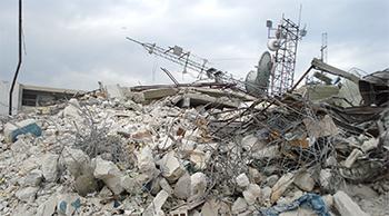 earthquake destroyed antennas