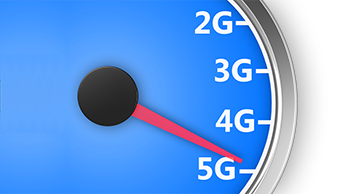 Blue analog speedometer with red indicator passing 2G, 3G and 4G, pointing towards 5G.