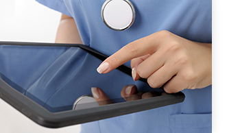 health care provider using tablet computer