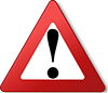 exclamation point centered within red triangle warning symbol